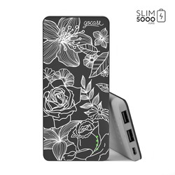 Power Bank Slim Portable Charger (5000mAh) Black - Floral White