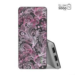 Power Bank Slim Portable Charger (5000mAh) Black - Pink Watercolor