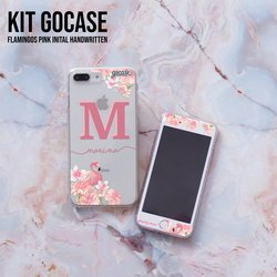 Kit Flamingos Pink Initial (Skin Custom White + Case)
