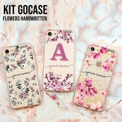 Kit Flowers Handwrittem (Lovely Floral, Cherry Blossoms Initial Pink and Rose Gold)