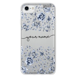 Flower Pattern Blue Handwritten Phone Case