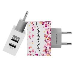 Carregador Personalizado iPhone/Android Duplo USB de Parede Gocase - Corações Flutuantes Manuscrita