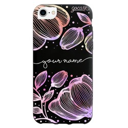 Black Case Line Flowers Colorful Phone Case