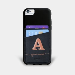 Black Pocket Case Initial Rose Handwritten Phone Case