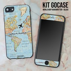 Kit World Map Handwritten (Black Case + Screen Protector Black)