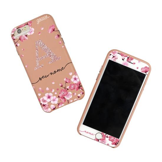 Kit Pétalas de Cerejeira Glitter Rosê (Case Rosê Fascino + Película Customizada Branca)