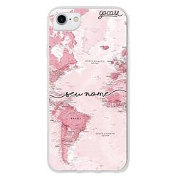 Capinha para celular Mapa Mundi Rosa Manuscrita