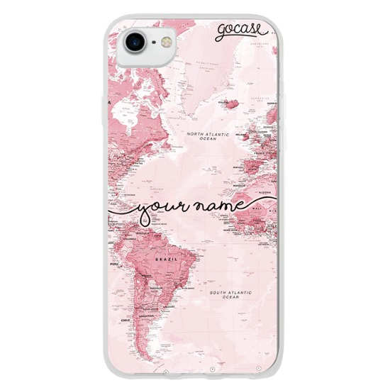 World Map Pink Handwritten