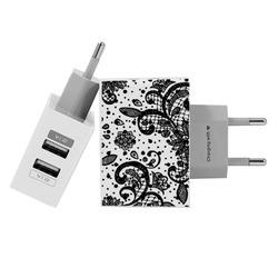 Carregador Personalizado iPhone/Android Duplo USB de Parede Gocase - Renda Black