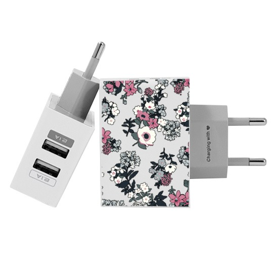 Carregador Personalizado iPhone/Android Duplo USB de Parede Gocase - Bem Floral