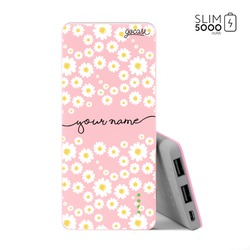 Power Bank Slim Portable Charger (5000mAh) Pink - Daisies Handwritten