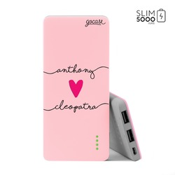 Power Bank Slim Portable Charger (5000mAh) Pink - Forever Love Handwritten
