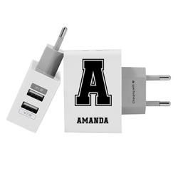 Customized Dual Usb Wall Charger for iPhone and Android - Initial Football