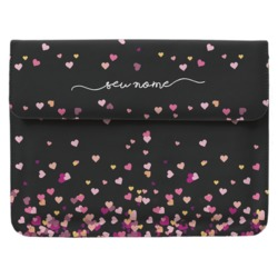Case Clutch Notebook - Corações Flutuantes Black Manuscrita
