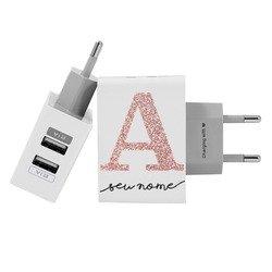 Carregador Personalizado iPhone/Android Duplo USB de Parede Gocase - Inicial Glitter - Manuscrita