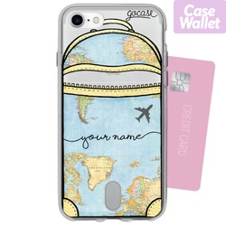 World Map Bag Handwritten - Wallet Phone Case