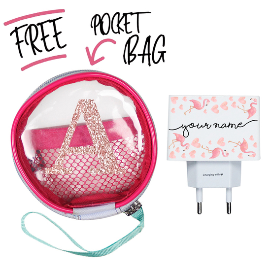 Kit Flamingos Handwritten (Wall Charger + Pocket Bag)