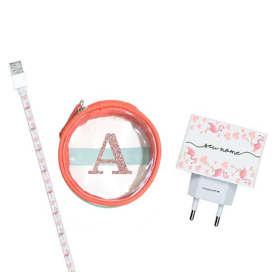 Kit Flamingos (Cabo iPhone + Carregador Duplo USB + Porta Carregador)