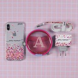 Kit Corações Flutuantes (Case + Carregador Duplo USB + Cabo Iphone + Porta Carregador)