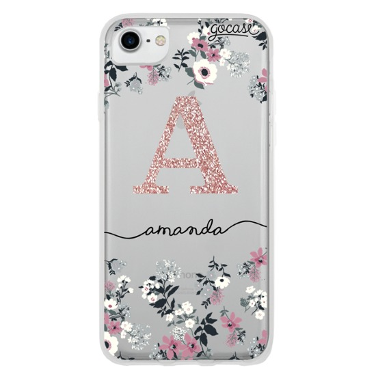 Lovely Floral - Initials Glitter