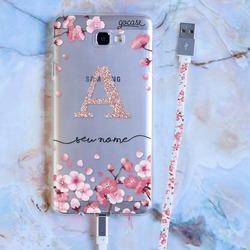 Kit Android - Petalas de Cerejeira Glitter (Cabo Micro USB + Capinha)