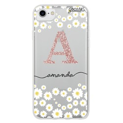 Daisies Initial Glitter Phone Case