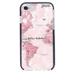Capinha para celular Anti-Impacto PRO - Mapa Mundi Rosa Manuscrita