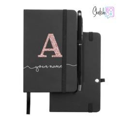 Sketchbook Black - Initial Glitter Handwritten