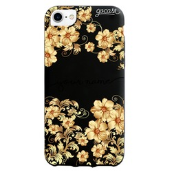 Black Case - Golden Flowers handwritten Phone Case