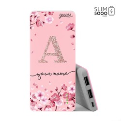 Power Bank Slim Portable Charger (5000mAh) Pink - Cherry Petals - Initial Glitter