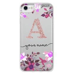 Floral Fuchsia Initial Glitter Phone Case