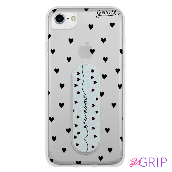Kit Black Hearts Manuscrita (Capinha + GoGrip)