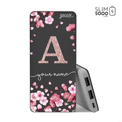 Power Bank Slim Portable Charger (5000mAh) Black - Cherry Petals Initial Glitter
