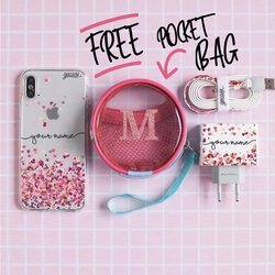 Kit Hearts (Iphone Case + Lightning Cable to USB for iPhone  + Wall Charger + Pocket Bag)