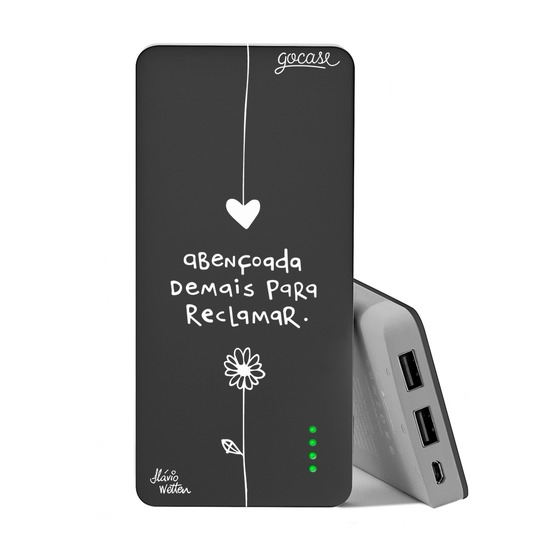 Carregador Portátil Power Bank (10000mAh) Preto - Abençoa White