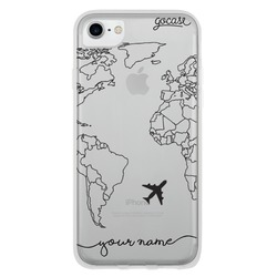 World Map Lines Handwritten Phone Case
