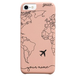 Coque Royal Rose - World Map Lines Handwritten