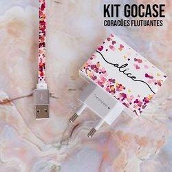 Kit Corações Flutuantes (Carregador Personalizado Duplo USB + Cabo Micro USB)