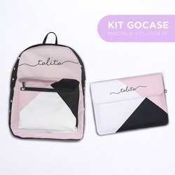 Kit Tricolor Manuscrita (Mochila + Clutch 15'')