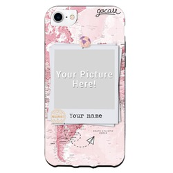 Picture - World map Pink Phone Case