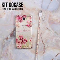 Kit Android Rose Gold Manuscrita (Capinha + Cabo Micro USB)