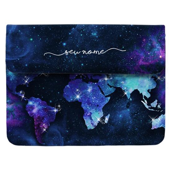 Case Clutch Notebook - Mapa Mundi Universo Manuscrita