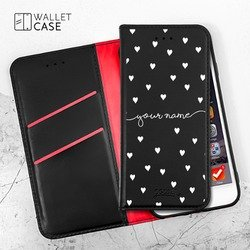Royal Wallet - White Hearts Handwritten Phone Case