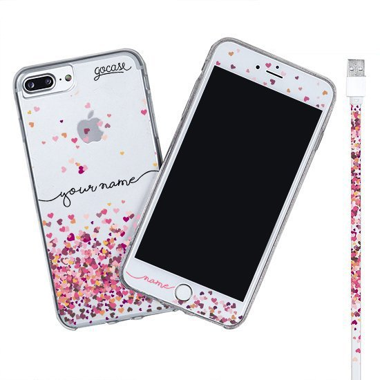 Kit Hearts  (Iphone Case + Lightning Cable to USB for iPhone + Screen Protector)