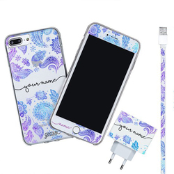 Kit Purple Handwritten (Iphone Case + Lightning Cable to USB for iPhone + Screen Protector + Wall Charger)