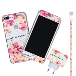 Kit Rose Gold Handwritten (Iphone Case + Lightning Cable to USB for iPhone + Screen Protector + Wall Charger)