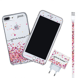 Kit Hearts Handwritten (Iphone Case + Lightning Cable to USB for iPhone + Screen Protector + Wall Charger)