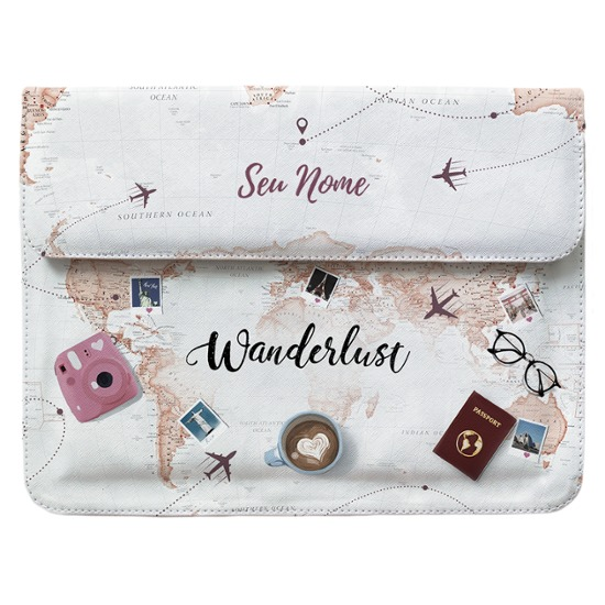 Case Clutch Notebook - World Trip Personalizada
