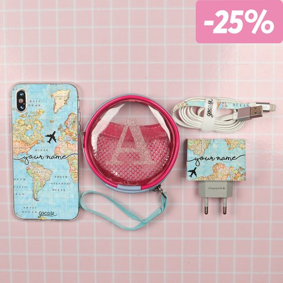Kit World Map Handwritten (Iphone Case + Lightning Cable to USB for iPhone + Wall Charger + Pocket Bag)