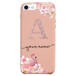 Royal Rose - Flamingo Initial Glitter Phone Case